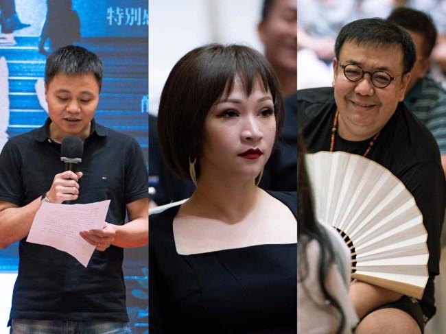 从左往右依次为:出品人凡名水、总制片人Yoyo Li、导演柳七