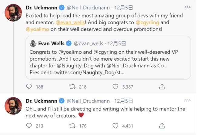 顽皮狗Neil升职为工作室联合总裁 仍会继续为游戏创作剧本和执导游戏