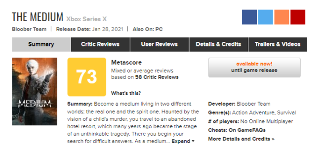 《灵媒》媒体评分平均分为73分 玩家体验十分精彩