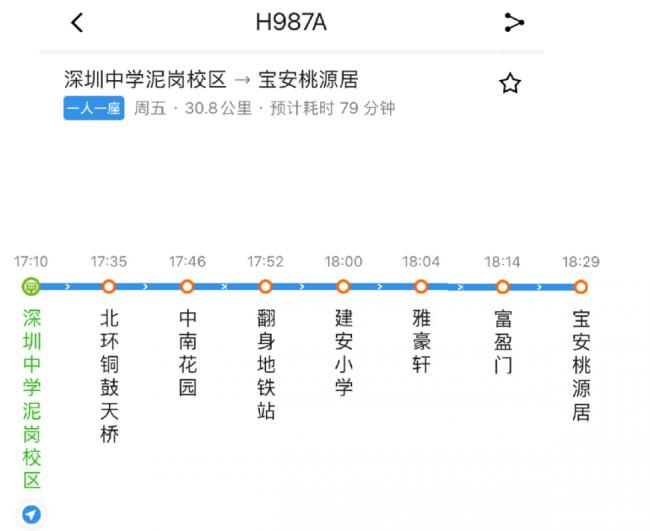 深圳中学优点定制学生线H987A开通路线站点信息一览