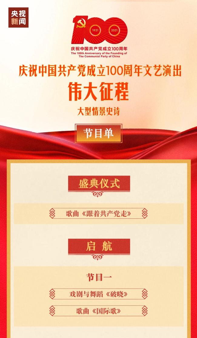 庆祝建党100周年《伟大征程》文艺演出节目单(附播放入口)