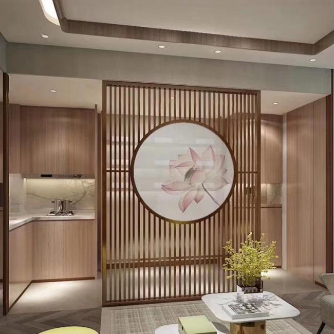 中式木纹铝合金窗花客厅月洞门屏风就找中韵合创,家用工程装饰建材的新选择