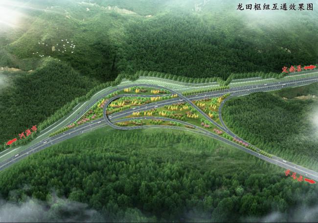 龙田枢纽互通跨龙紫高速施工正式启动 采用迂回T型设计共有4条匝道