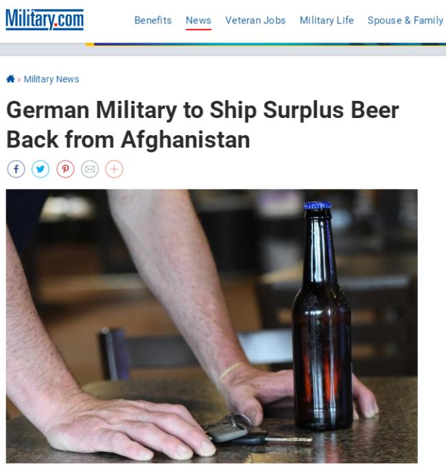 德国从阿富汗撤军 不忘带走啤酒等酒精饮料