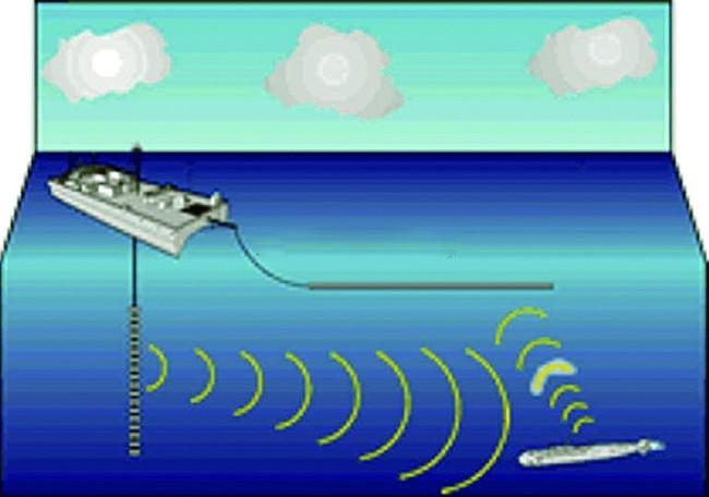 南海战略态势感知发布的侦测船探测潜艇示意图。