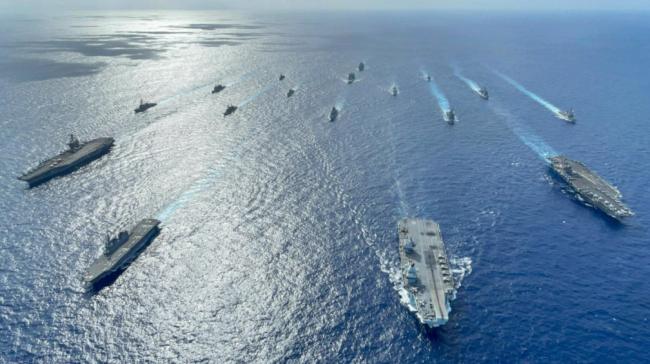 美国、荷兰、加拿大、新西兰、日本、英国6国舰艇在菲律宾海开展演练