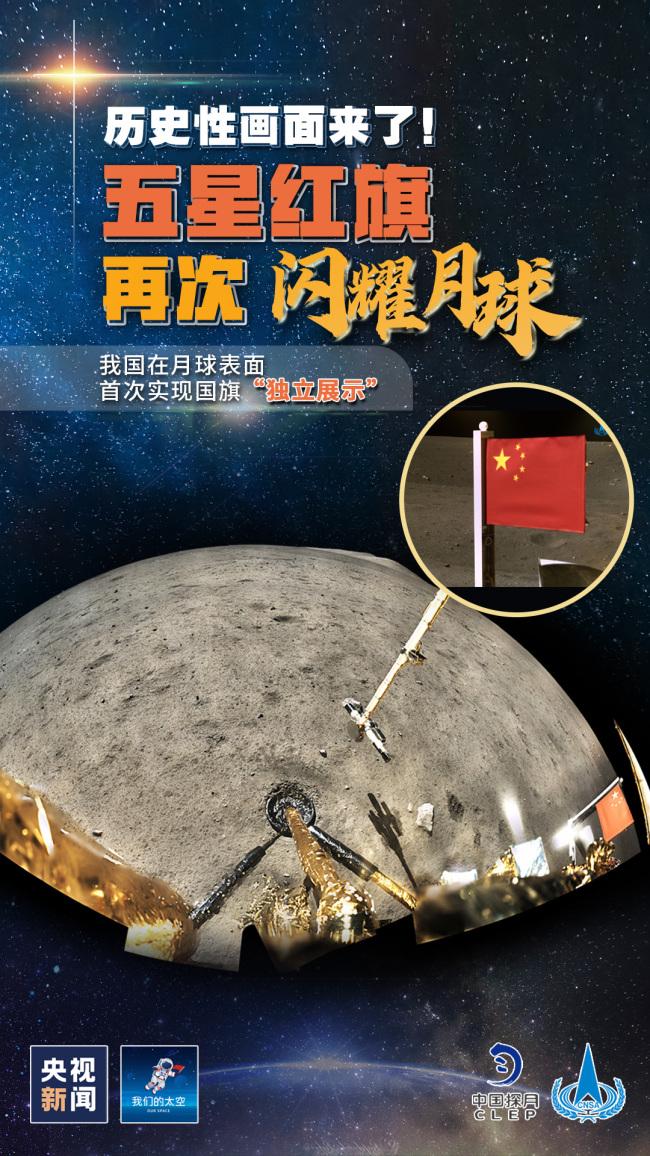 嫦娥五号月表国旗展示照片公布,动态展示特别在哪?
