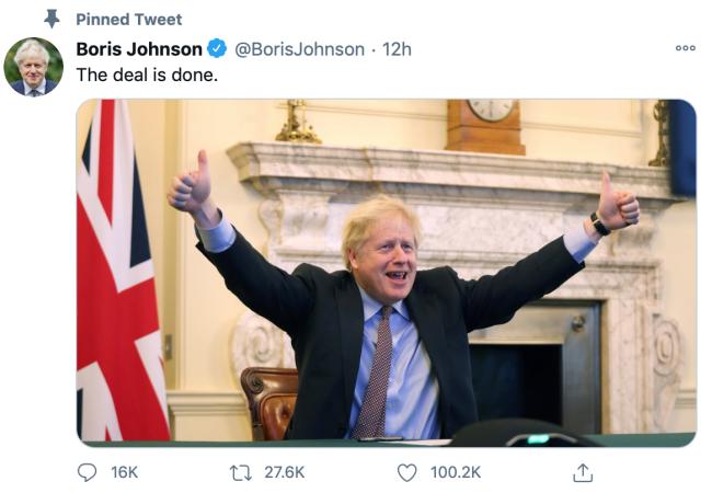 鲍里斯·约翰逊推特截图