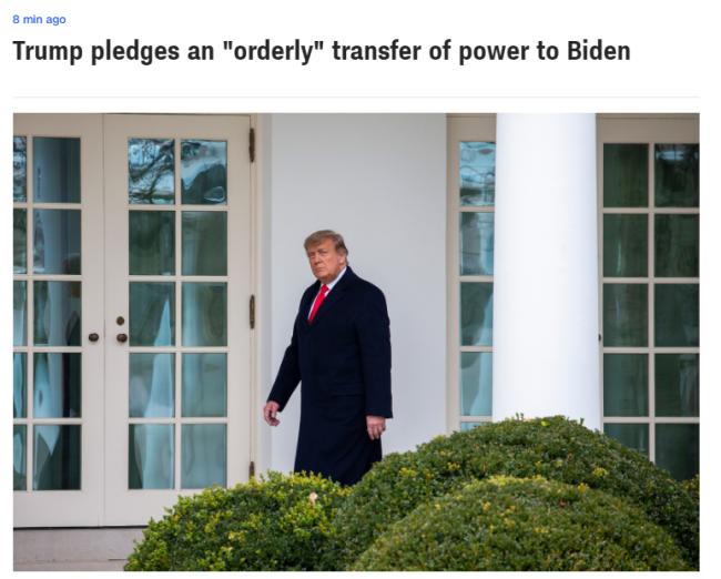 """美国国会确认拜登赢得美国大选 特朗普承诺:20日将""""有序""""过渡"""