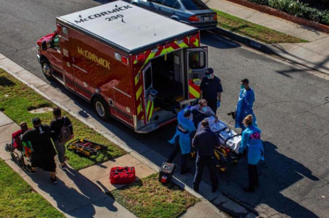 △洛杉矶地区的救护车停止将心脏骤停的患者送往医院。( 图片来源:盖蒂图片社)