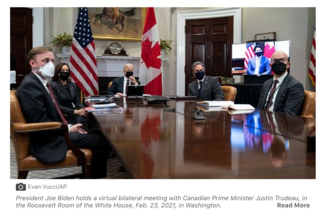 当地时间2月23日,拜登与特鲁多举行首次双边会晤。/美国广播公司网站截图