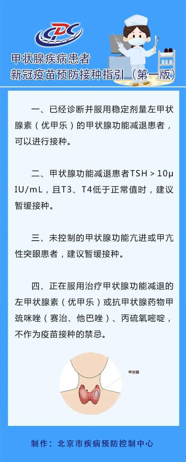 甲状腺疾病患者新冠疫苗如何接种,北京疾控发布指引
