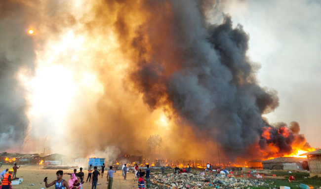 孟加拉一处罗兴亚人定居点4天内发生第3起火灾