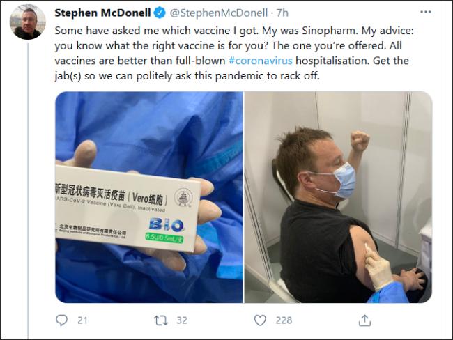 BBC驻华记者晒打中国疫苗照片,有人酸了