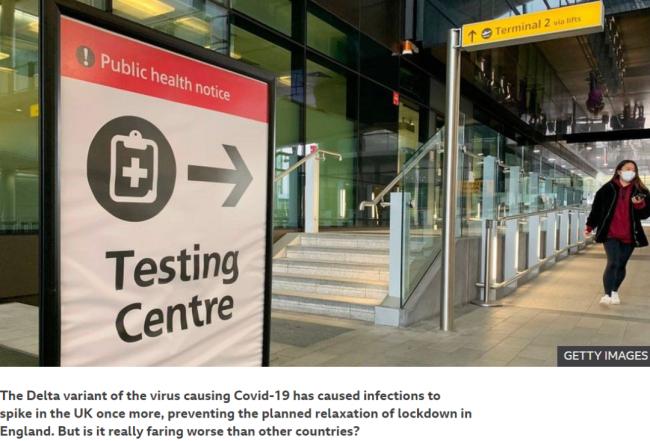 为什么德尔塔毒株在英国扩散快?/BBC报道截图