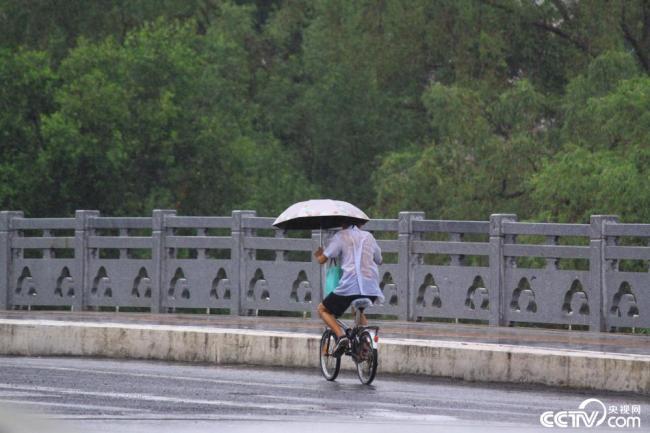 南海热带低压登陆海南 三亚出现较强风雨