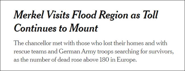 默克尔视察德国洪灾现场:太可怕了 德语都词穷了