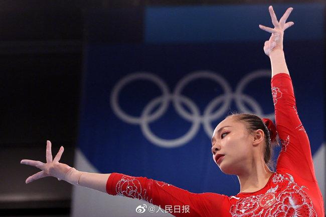 东京奥运会女子体操资格赛 中国女队暂列团体第二