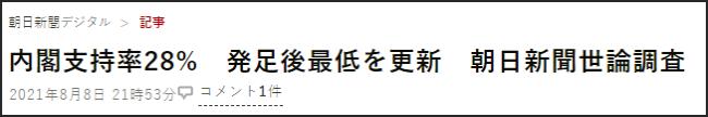 奥运会闭幕 菅义伟支持率跌破3成创历史新低