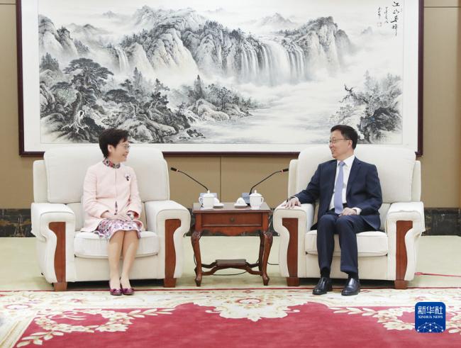 韩正会见林郑月娥:希望特区组织好三场重大选举