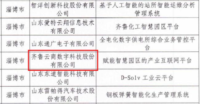 齐鲁云商入选山东省软件产业高质量发展重点项目