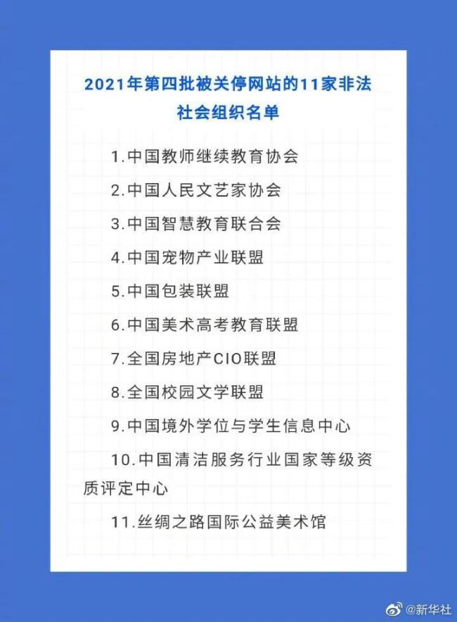 """""""中国人民文艺家协会""""等11家非法社会组织网站被关停"""