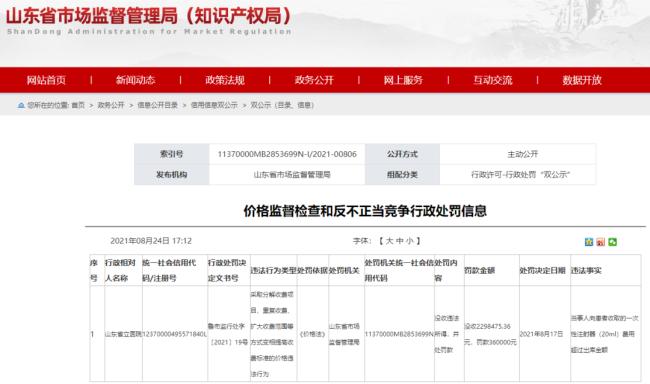 山东省立医院变相乱收费,被省市场监管局罚没265万元