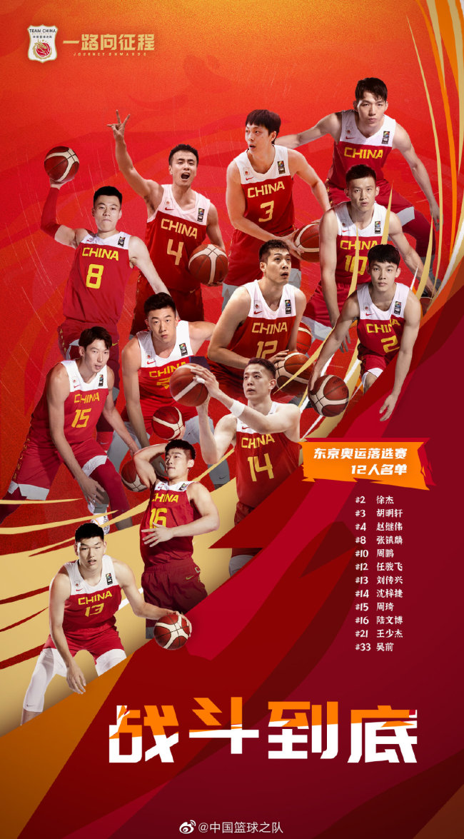 中国男篮东京奥运落第赛12人名单。图/交际媒体
