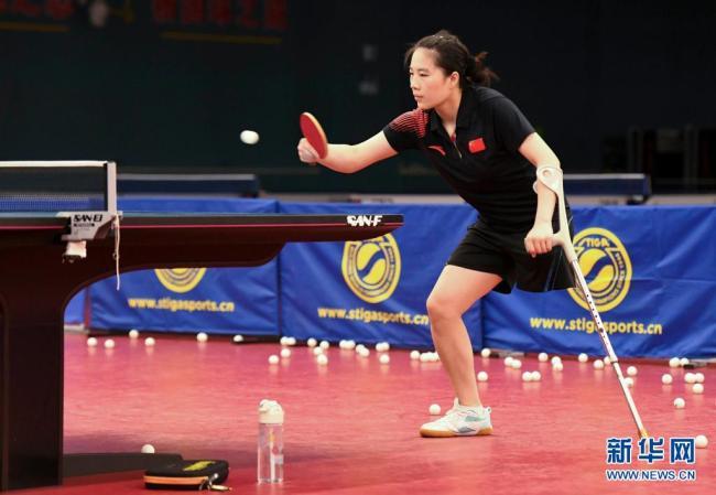 中国残疾人乒乓球队备战东京残奥会