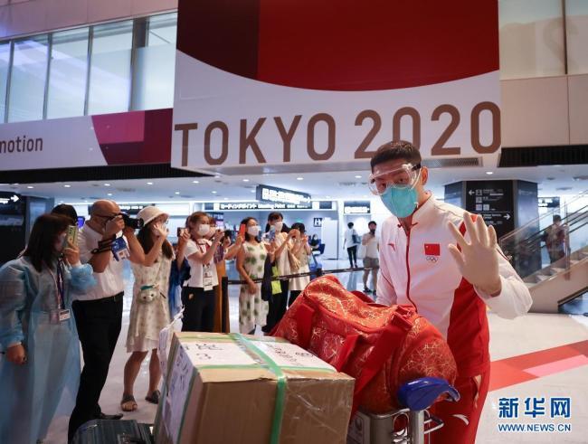 中国体育代表团部分成员抵达东京
